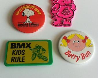 Vintage 1980's Badges, BMX, Pink elephant, Snoopy, Betty Bun.