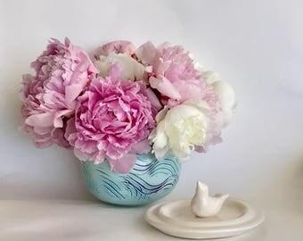 Handmade Aqua Round Ceramic Flower Vase