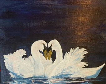 Swans, Love Birds, lake, pond, night