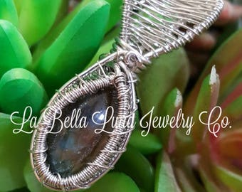 Labradorite Wire Wrapped in Sterling Silver Wire