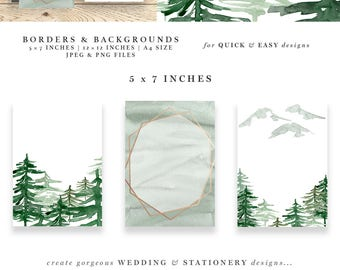 Rustic Forest Watercolor Backgrounds, Rustic Rose Gold Wedding Invitation Clipart, Conifers Pine Trees Mountains Hills Woodland Graphics