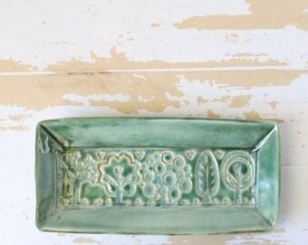 Green Pottery Butter Dish/Green Butter Dish/Handmade Green Tray/Pottery Green Tray/Green Pottery Tray/Pottery Butter Dish/Pottery Small Tray