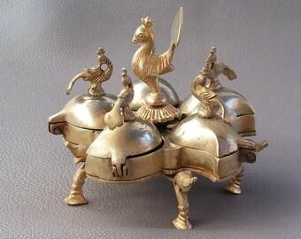 Antique KumKum box, Indian Spice Box, Brass KumKum, Brass Spice box, Antique Brass item, Spice Pots, Spice box, Indian, Indian brass, Henna