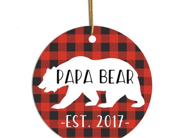 Papa Bear Ornament, Ornament for Dad, New Dad Ornament, Personalized Ornament, Christmas Ornament, Pregnancy Reveal to Husband, Papa Bear