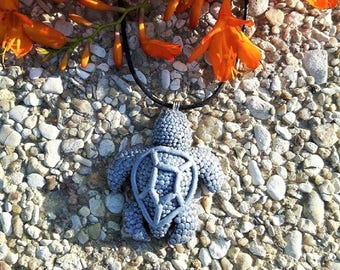 Silver turtle necklace made of polymer clay