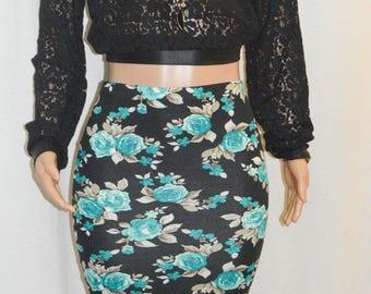 Midnight Black Floral Pencil Midi Skirt