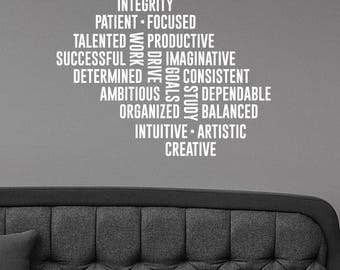 Study Work Word Cloud Inspirational Wall Decal Vinyl Lettering Success Business Creative Quote Sticker Art Motivational Office Decor hq30