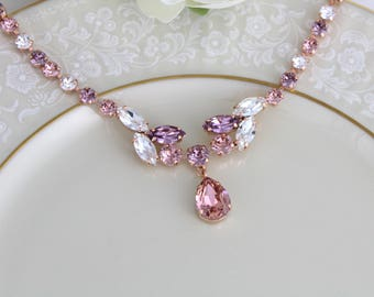 Rose gold necklace, Bridal necklace, Bridal jewelry, Statement necklace, Blush crystal necklace, Wedding jewelry, Swarovski crystal necklace