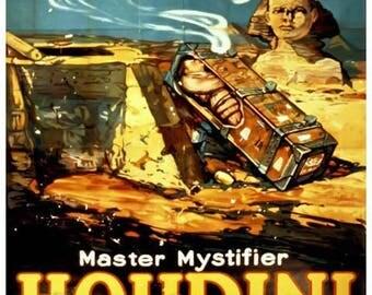 Houdini Poster Print Art - Vintage Magician Print Art - Home Decor - Egypt Sphinx Buried Alive