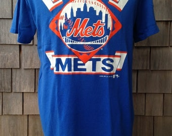 Vintage 80s New York Mets T Shirt - Large - Garan 1989