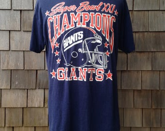 Vintage New York Giants Super Bowl XXI Champions T Shirt - Large - 1986 1987 NFL champs - soft and thin