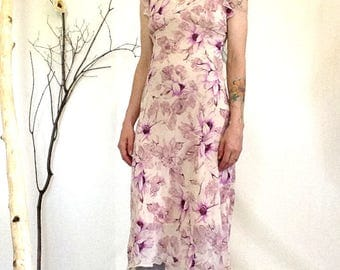 90s Floral Dress, Size 9 Medium, Flutter Sleeve, Fuschia, Abstract Floral, 90s Dress, 90s Floral, Purple Floral, Semi Sheer, Pale Pink