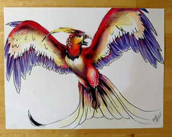 Fiery Bird Collectible Drawing