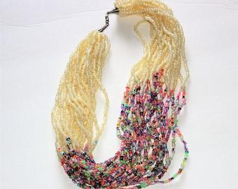 Cream bead African necklace, Cream bead African jewelry, Cream bead wedding necklace, Multi bead Royal crystal, Multi bead Ankara jewelry