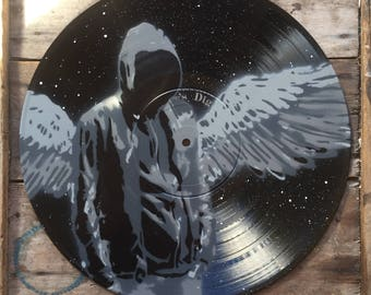 I Wish I Were More - Spray paint wall art on vinyl, Hand cut stencil art - Vanilla