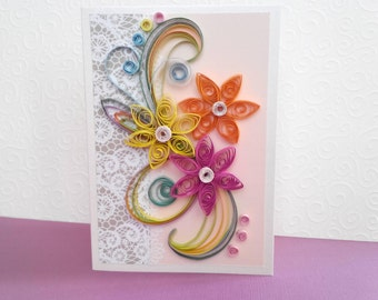 quill card, paper quill, quill birthday card, quilling cards, quilling card, quilled cards, quilling, paper quilling, quill wedding card