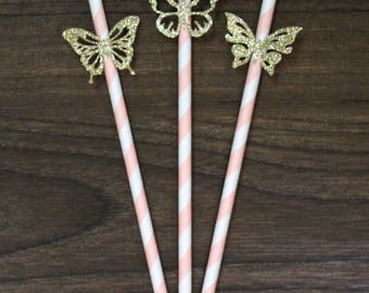 Butterfly Party Straws - Assorted Sparkly Gold Butterflies - Light Pink Striped Straws
