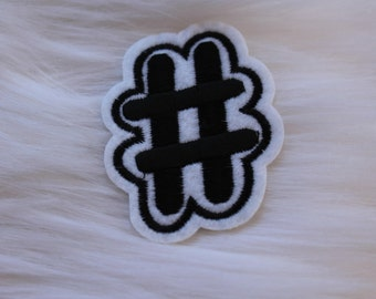 Hashtag/Pound sign DIY Iron-on Embroidered Patch!