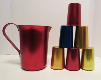 Retro Anodized Aluminum Pitcher and Tumbler Set, Red Pitcher, Six Colored Glasses