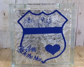 money bank, glass block, save, piggy bank, police, back the blue, money