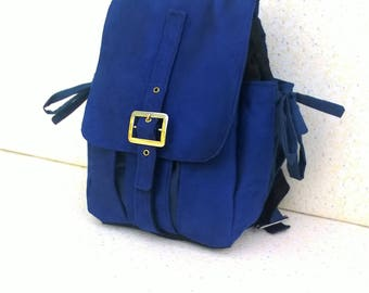 """Blue backpack, """""""" Electric Blue & raw """""""", Blue Suede and raw denim"""