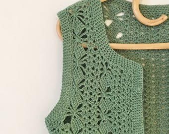 Sage Green Vintage Hippy Boho Crochet Cardigan Vest ~ Size Medium AU 12 - 14 US 10 - 12 ~ Festival Grunge Gypsy