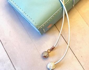 Travelers Notebook Bookmark, Leather Monkey Knot Bookmark