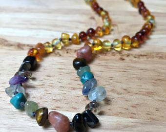 ADHD Necklace Baltic Amber and Gemstones, Child size - Attention Deficit Hyperactive Disorder, hyperactivity, calming stones, amber teething