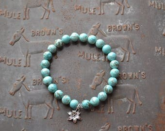 Beaded Turquoise Bracelet with Flower Charm