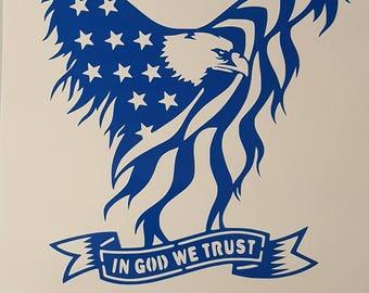 American Eagle in God We Trust vinyl decal