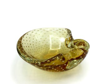 Murano Glass Bowl by Archimede Seguso-Studio of Biomorphic Yellow or Gold Glass Bullicante aka 'Controlled Bubble' w/ 2 Lips, Ashtray '50s