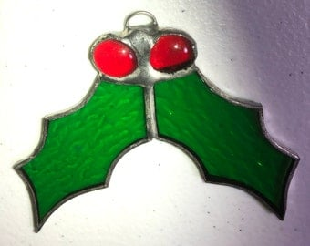 Vintage, Stained Glass, 2 Holly Leaves with 2 Berrys, Christmas, Ornament