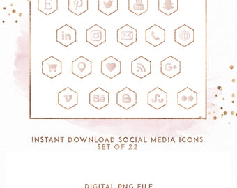 Rose Gold and Blush Hexagon Instant Download Social Media Icons, ( ICON2 )
