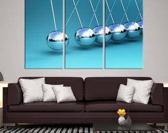 Large 3 Panels Wall Art Photograph Canvas Print - Newton's Cradle on Turquoise Background, Housewarming Gift, Home Decoration