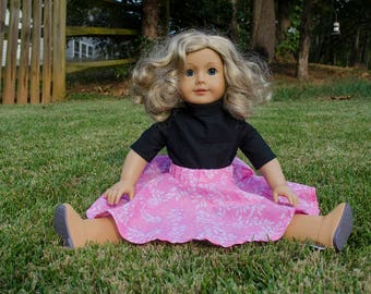 American Girl Doll Pink Vines Circle Skirt