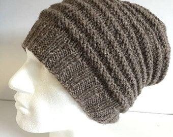 Mens Chunky Beanie, Hand knitted Textured Light Brown Wool Hat, Woolly Hat, Mans Winter Hat, Thick Wool Hat, Boyfriend Outdoor Gift For Men,