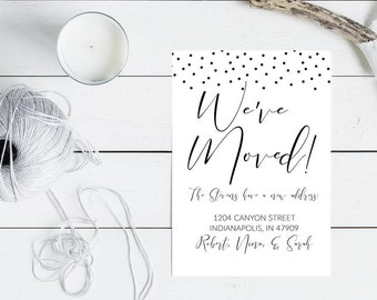 We've Moved Simple Announcement Card, 5 x 7 Black and Whi Moving Announcement Card