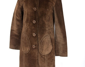 Vintage 1970s brown suede coat UK 8 -10
