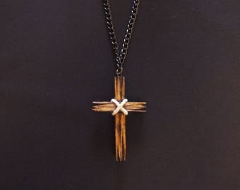 Hand Carved Christian Cross Necklace