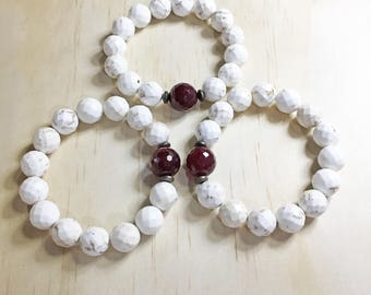 Natural White Magnesite Beads with Fuchsia Agate Stretch Bracelets, White Turquoise Beaded Bracelets,Beach Bracelets, Set of 3 Bracelets