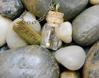 Mustard Seed & Tiny Cross in Vial w/ Bronze Faith Charm Necklace Christian Gift Faithw/ Bible Verse, Original Poem Wallet Card Gift Set