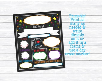 Reusable First Day of School Sign, Back to School Printable, First Day of School Print, Kindergarten, Good for any Grade, Instant Download