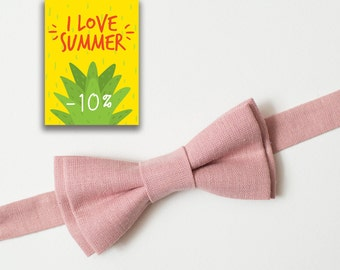 Wedding bow tie Dusty Pink bow tie For him Groom bow tie Wedding accessories Linen bowtie Boyfriend gift Ring Bearer outfit Back to school