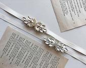 Ivory Leaf-Shaped Rhinestone Sash | Dainty Skinny Crystal Bridal Belt | Art Deco Inspired | Simple and Romantic Wedding Accessories