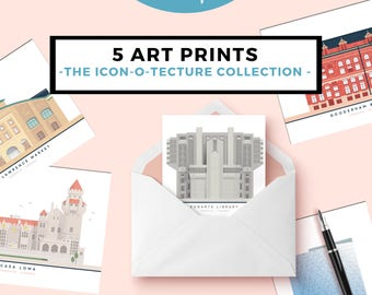 "5 ""Icon-O-Tecture"" Prints: Set of 5 digitally illustrated architectural gems"