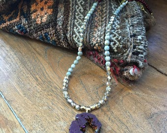 Purple Amethyst Druzy Necklace- Gold Necklace- Statement Necklace- Kendra Scott- Beaded Necklace- Purple and Gold Necklace