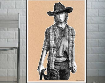 Carl - The Walking Dead  - Fine Art Print - A4/A3