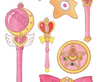 Sailor Moon watercolor illustration art print fanart