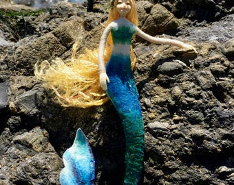 "Fae Folk® Fairies - BUBBLES - Mermaid Fairy. Bendable, posable 7"" soft doll can sit, or hang."