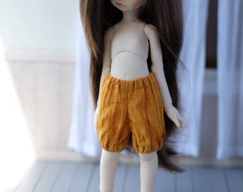 Linen shorts for iMda 3.0 doll - ochre yellow